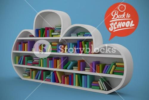 Composite image of shelf with various colorful books