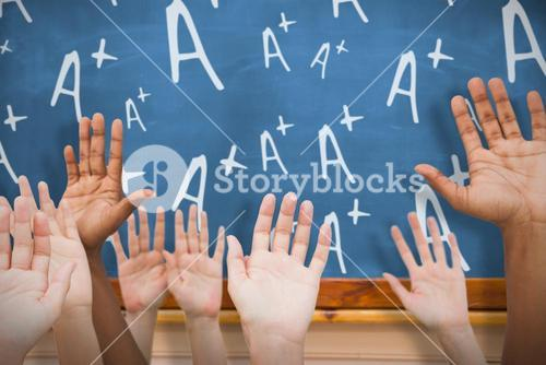 Composite image of hands raising in the air