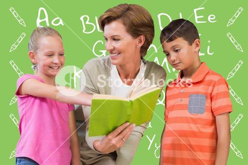 Composite image of teacher reading book with pupils at library