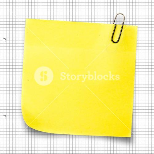 Composite image of yellow sticky note with paper clip