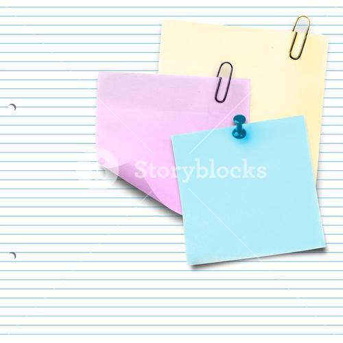 Composite image of pink sticky note with paper clip