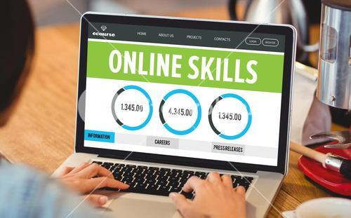 Composite image of online skills interface
