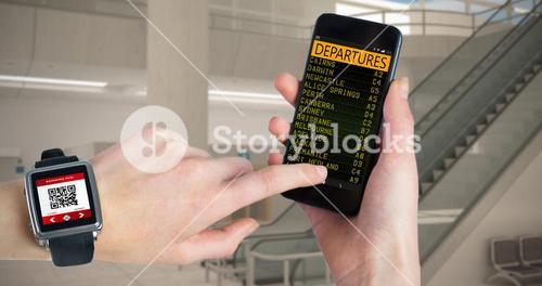 Composite image of woman using smartwatch and phone