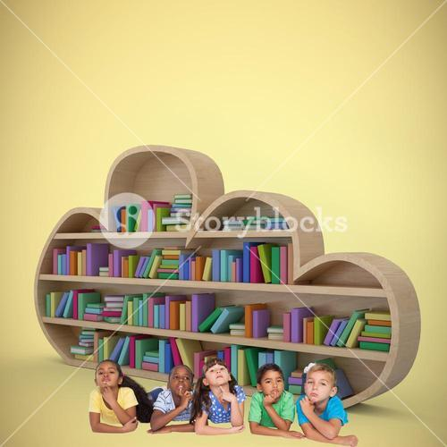 Composite image of cute kids thinking