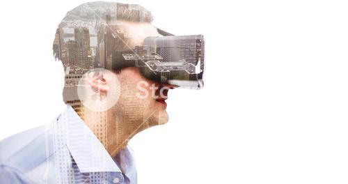 Composite image of profile view of businessman holding virtual glasses