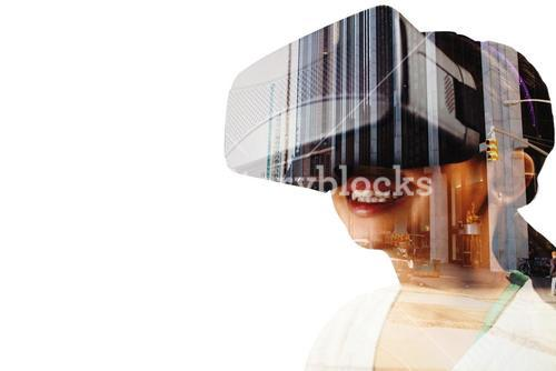 Composite image of close up of little girl holding virtual glasses