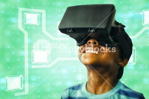 Composite image of little boy holding virtual glasses and looking away