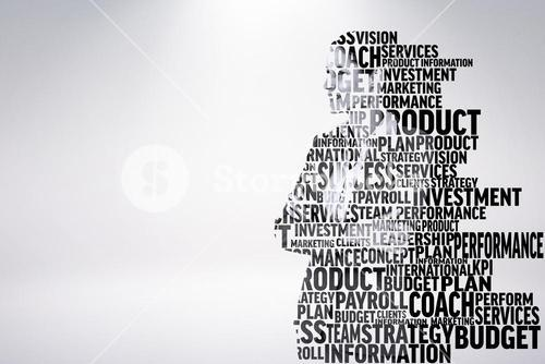 Composite image of businesswoman in buzzwords