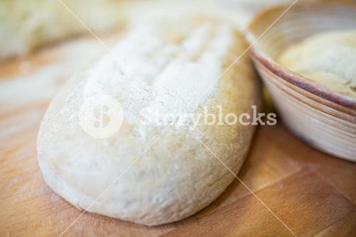 Close-up of raw bread dough