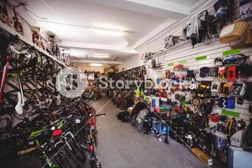 Bicycles and accessories in workshop