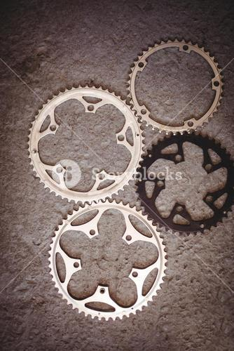 Bicycle gears on floor