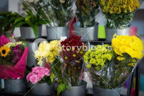 Flowers bouquet in florist shop