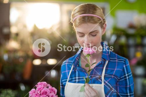 Female florist smelling pink rose