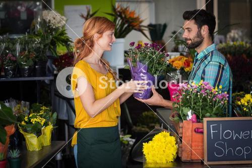 Female florist giving bouquet of flower to man