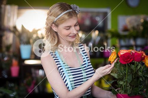 Female florist touching rose flowers