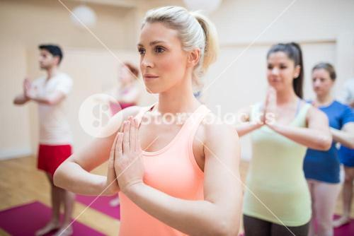 Group of people performing tree-pose yoga exercise