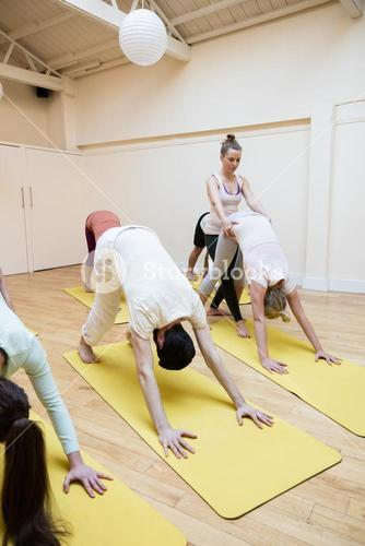 Trainer assisting group of people with downward dog exercise