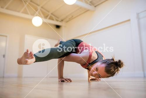 Woman performing balance exercise