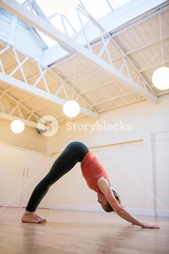 Woman performing downward dog exercise