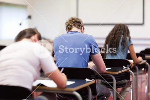 Studious young adults writing