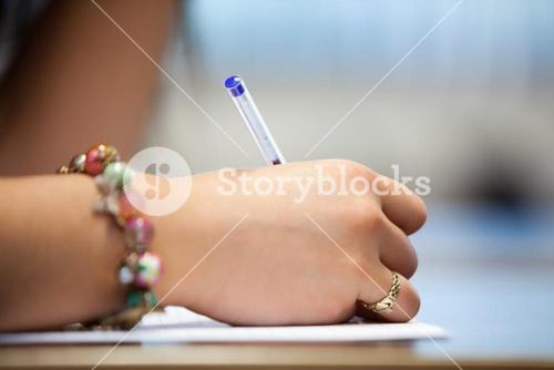 Close of a hand writing