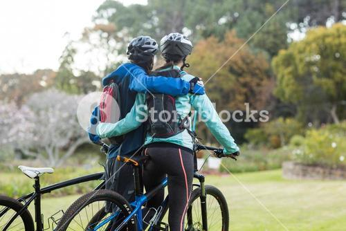 Biker couple with mountain bike