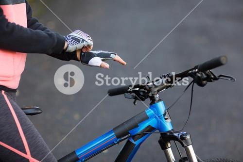 Biker wearing sport gloves