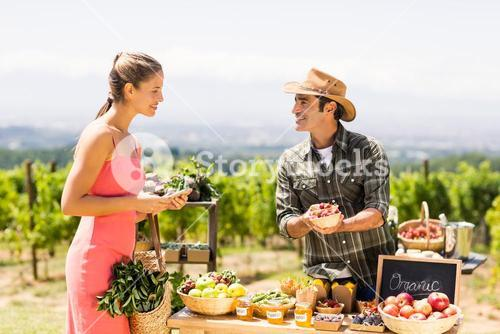 Farmer selling his organic produce to customer
