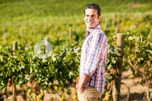 Portrait of male vintner standing with hands in pockets
