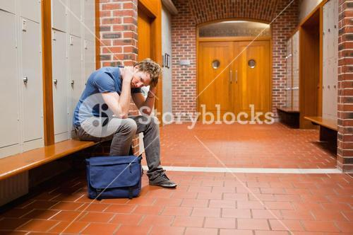 Tired student sitting