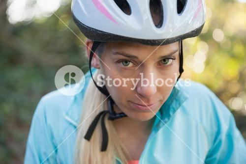 Portrait of female mountain biker