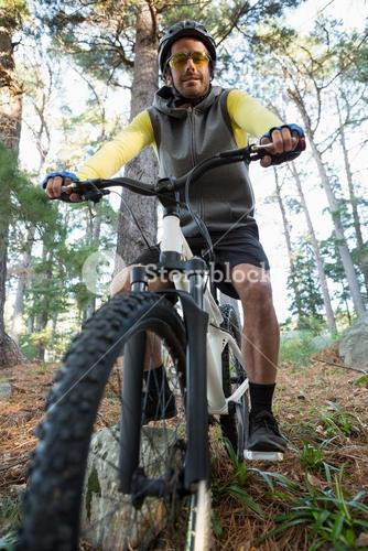 Portrait of male mountain biker riding bicycle in the forest