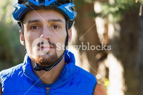 Male mountain biker in the forest