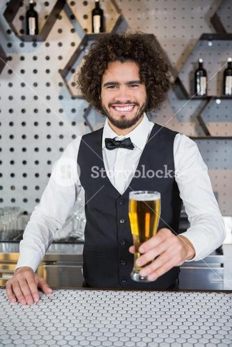 Bartender holding glass of beer in bar counter