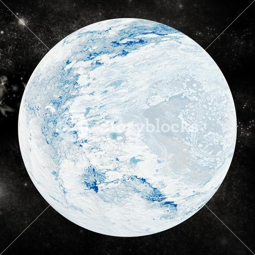Snowy earth on white background