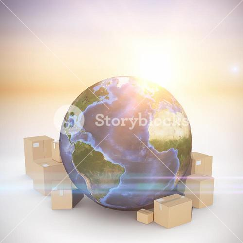 Composite image of globe and cardboard boxes
