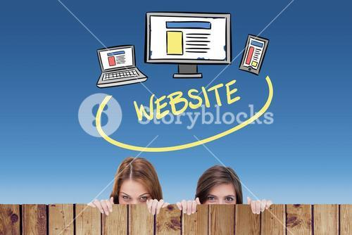Composite image of technology with website text