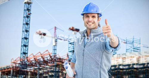 Composite image of happy architect