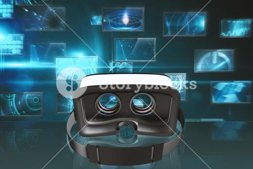 Composite image of digital image of virtual reality simulator
