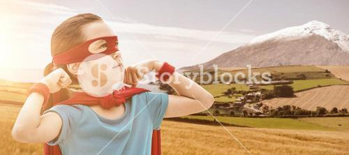 Composite image of cute girl in eye mask and cape
