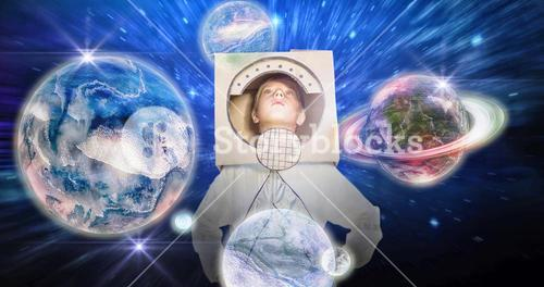 Composite image of boy pretending to be an astronaut