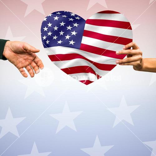Person holding heart shape American flag