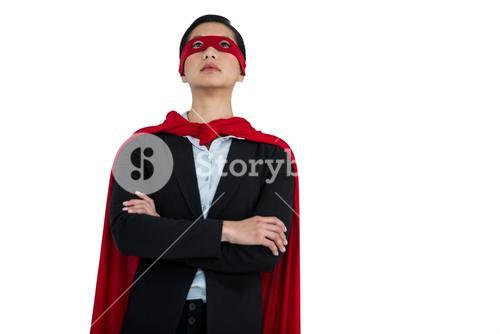 Woman pretending to be a super hero