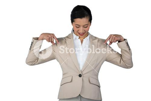 Businesswoman performing exercise