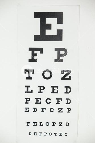 Eye chart on white background