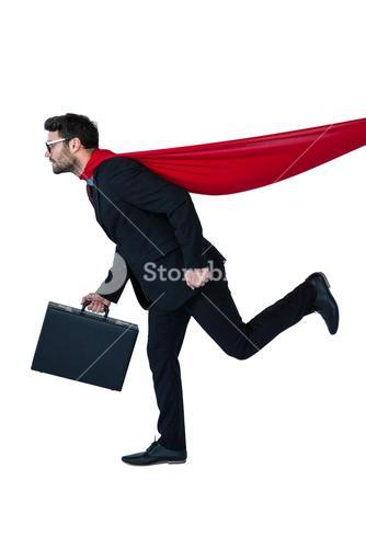 Businessman pretending to be a super hero