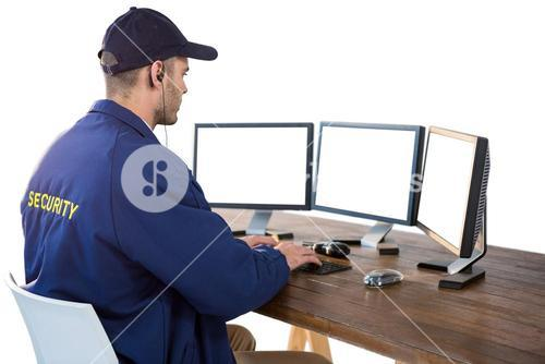 Security officer using computer