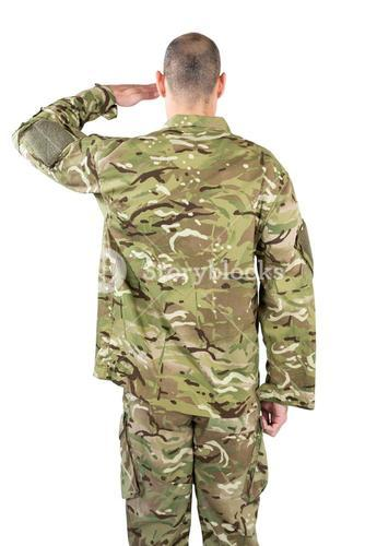 Rear view of soldier saluting
