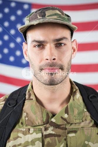 Close-up of confident soldier
