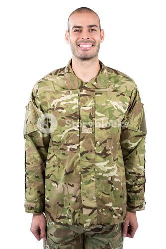 Portrait of smiling soldier standing